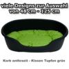 adena Hundekorb 81 x 54 cm anthrazit + Kissen Tupfen grün - 1