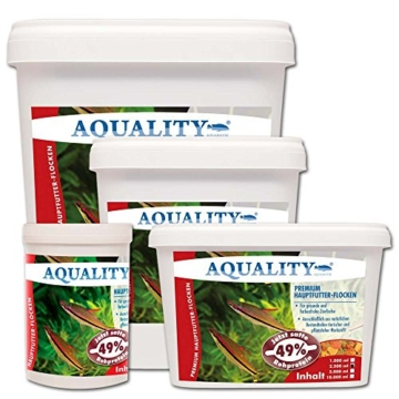 AQUALITY PREMIUM Hauptfutter-Flocken 10.000 ml (GRATIS Lieferung innerhalb Deutschlands - Top Premium Fischfutter Flocken mit satten 49% Rohprotein - das wertvolle Nature Hauptfutter. Aussschließlich aus natürlichen Bestandteilen tierischer und pflanzlicher Herkunft. Ohne künstliche Farbstoffe!!! Für gesunde und farbenfrohe Aquarium Zierfische) - 5