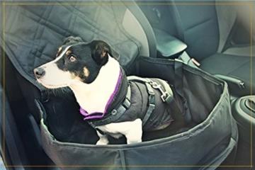 Bee more dog 2-in-1 Hund Autositzbezug als Hundekorb oder Schondecke für Vordersitz, abwaschbarer und rutschfester Sitzbezug mit Gurt für alle Autos - 4