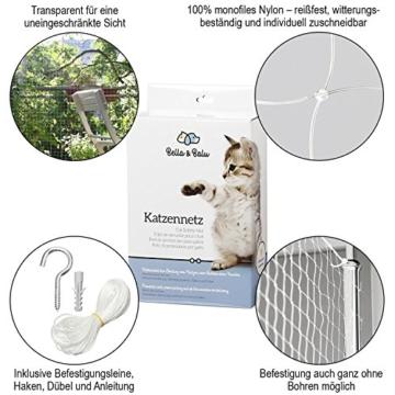 Bella & Balu Katzennetz inkl. Haken, Dübel, Rundumseil und Anleitung – Transparentes Schutznetz für Katzen zur Absicherung von Balkon, Terrasse, Fenster und Türen (transparent   8 x 3 m) - 2