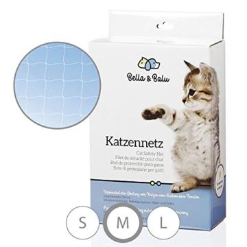 Bella & Balu Katzennetz inkl. Haken, Dübel, Rundumseil und Anleitung – Transparentes Schutznetz für Katzen zur Absicherung von Balkon, Terrasse, Fenster und Türen (transparent   8 x 3 m) - 1
