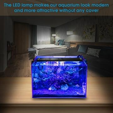 BELLALICHT Aquarium LED Beleuchtung, Aquariumbeleuchtung Lampe Weiß Blau Licht 6W mit Verstellbarer Halterung für 30cm-45cm Aquarium - 2