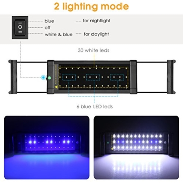BELLALICHT Aquarium LED Beleuchtung, Aquariumbeleuchtung Lampe Weiß Blau Licht 6W mit Verstellbarer Halterung für 30cm-45cm Aquarium - 4