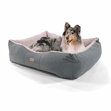 """brunolie """"Emma"""" großer Hundekorb, waschbar, hygienisch und Rutschfest, Hundebett mit Kissen und kuscheligem Plüsch in Braun, Größe L - 1"""