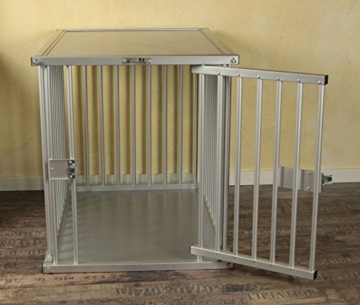 Callieway® Premium ALU Hundekäfig für Büro & Zuhause, Hundebox, ALU Transportkäfig Dogcrate Pro in Größe L (Large: 79cm (L) x 58cm (B -Türseite) x 65cm (H)) - 3
