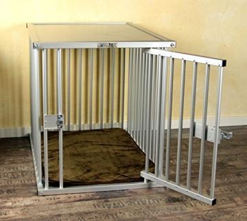 Callieway® Premium ALU Hundekäfig für Büro & Zuhause, Hundebox, ALU Transportkäfig Dogcrate Pro in Größe L (Large: 79cm (L) x 58cm (B -Türseite) x 65cm (H)) - 4