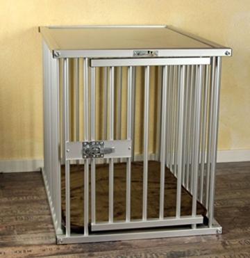 Callieway® Premium ALU Hundekäfig für Büro & Zuhause, Hundebox, ALU Transportkäfig Dogcrate Pro in Größe L (Large: 79cm (L) x 58cm (B -Türseite) x 65cm (H)) - 5