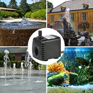 Decdeal 600L/H 8W Tauchpumpe Aquarium Pumpe Wasserpumpe mit 2 Düsen für Brunnen Aquarium - 3