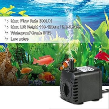 Decdeal 600L/H 8W Tauchpumpe Aquarium Pumpe Wasserpumpe mit 2 Düsen für Brunnen Aquarium - 4