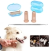 DryMartine Hund Katze Zahnreinigung Zahnpflege Set, PET Finger Zahnbürste (3) + 6.6in Double Header Hund Dental Zahnstein Zahnstein Plaque Entferner Scraper Tool (1Stück) - 1