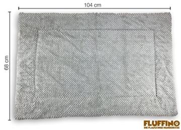 FLUFFINO® Hundedecke- Flauschig, Weich u. Waschbar (Größe L, 104 x 68 cm, grau)- erhöhte Rutschfestigkeit durch Gumminoppen- Für große u. kleine Hunde o. Katzen- Hundematten/Hundekissen, Katzendecke - 2