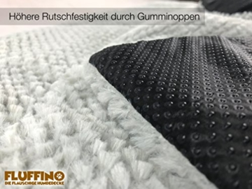 FLUFFINO® Hundedecke- Flauschig, Weich u. Waschbar (Größe L, 104 x 68 cm, grau)- erhöhte Rutschfestigkeit durch Gumminoppen- Für große u. kleine Hunde o. Katzen- Hundematten/Hundekissen, Katzendecke - 3