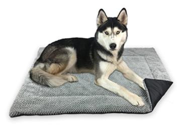 FLUFFINO® Hundedecke- Flauschig, Weich u. Waschbar (Größe L, 104 x 68 cm, grau)- erhöhte Rutschfestigkeit durch Gumminoppen- Für große u. kleine Hunde o. Katzen- Hundematten/Hundekissen, Katzendecke - 1