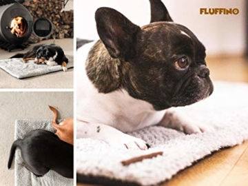 FLUFFINO® Hundedecke- Flauschig, Weich u. Waschbar (Größe L, 104 x 68 cm, grau)- erhöhte Rutschfestigkeit durch Gumminoppen- Für große u. kleine Hunde o. Katzen- Hundematten/Hundekissen, Katzendecke - 6