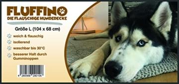FLUFFINO® Hundedecke- Flauschig, Weich u. Waschbar (Größe L, 104 x 68 cm, grau)- erhöhte Rutschfestigkeit durch Gumminoppen- Für große u. kleine Hunde o. Katzen- Hundematten/Hundekissen, Katzendecke - 7