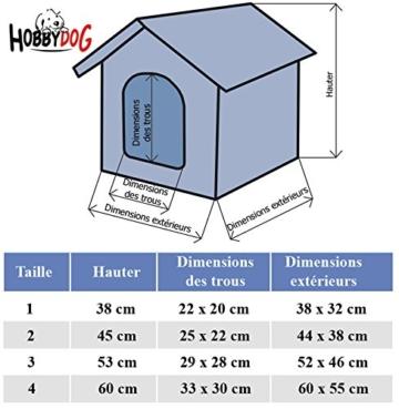 HobbyDog Hundehütte, Größe 4, 60x55cm, aushaltbares Codurastoff, waschbar bei 30 ° C, Beständigkeit gegen Kratzer, EU-Produkt - 2