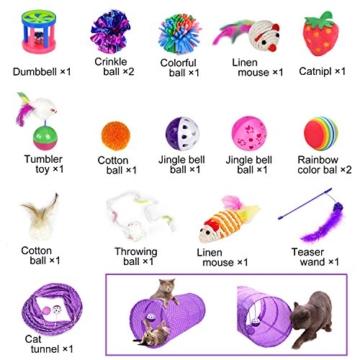 Legendog Katzenspielzeug Set, 17 Stück Katzen Spielzeug | Katzenangel Maus Bälle Katzenspielzeug | Spiele für Kitten - 2