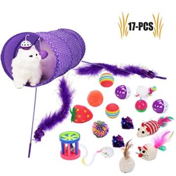 Legendog Katzenspielzeug Set, 17 Stück Katzen Spielzeug | Katzenangel Maus Bälle Katzenspielzeug | Spiele für Kitten - 1