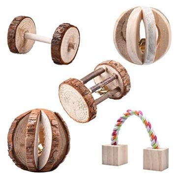 Leisuretime 5 Stücke Pet Spielzeug Set Kleine Haustiere Holz Kauen Spielzeug Kiefer Dumbells Einrad Glocke Roller Kauen Spielzeug Für Katze Kaninchen Hamster Ratte (5 pcs) - 1