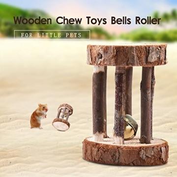 Leisuretime 5 Stücke Pet Spielzeug Set Kleine Haustiere Holz Kauen Spielzeug Kiefer Dumbells Einrad Glocke Roller Kauen Spielzeug Für Katze Kaninchen Hamster Ratte (5 pcs) - 7