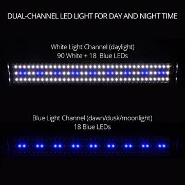 NICREW LED Aquarium Beleuchtung, Leuchten für Aquarien, Aquarium LED Lampe mit Mondlicht, LED Licht für Süßwasser Aquarien, 72-92 cm, 18 W, 920 LM - 6