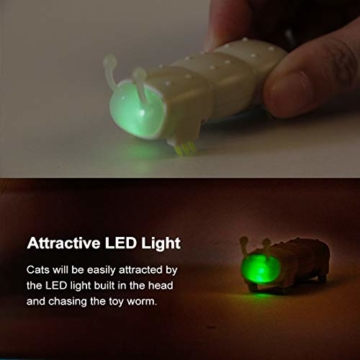 Opard KatzenSpielzeug Spielzeug Elektrische Spielzeugwurm LED Licht 4 vibrierende Fuß ABS-Material Interaktive Spielzeug(2 Stück) - 4