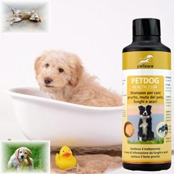 Peticare Spezial-Shampoo für Hunde - bei Juckreiz, Milben, Pilz & Flohbefall - petDog Health 2104 [250 ml] - 2