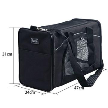 Petsfit Faltbare Transportboxfür Haustiere, Fluggesellschaft zugelassen, Schwarze Haustiertragetasche, Zwei Platzierung-Methode in Flugzeugen, 47cm x 24cm x 31cm - 2