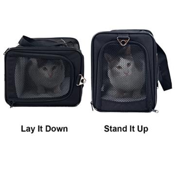 Petsfit Faltbare Transportboxfür Haustiere, Fluggesellschaft zugelassen, Schwarze Haustiertragetasche, Zwei Platzierung-Methode in Flugzeugen, 47cm x 24cm x 31cm - 3