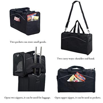 Petsfit Faltbare Transportboxfür Haustiere, Fluggesellschaft zugelassen, Schwarze Haustiertragetasche, Zwei Platzierung-Methode in Flugzeugen, 47cm x 24cm x 31cm - 4