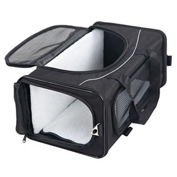 Petsfit Faltbare Transportboxfür Haustiere, Fluggesellschaft zugelassen, Schwarze Haustiertragetasche, Zwei Platzierung-Methode in Flugzeugen, 47cm x 24cm x 31cm - 1