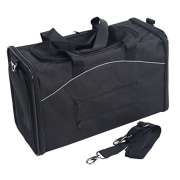 Petsfit Faltbare Transportboxfür Haustiere, Fluggesellschaft zugelassen, Schwarze Haustiertragetasche, Zwei Platzierung-Methode in Flugzeugen, 47cm x 24cm x 31cm - 6