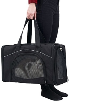 Petsfit Faltbare Transportboxfür Haustiere, Fluggesellschaft zugelassen, Schwarze Haustiertragetasche, Zwei Platzierung-Methode in Flugzeugen, 47cm x 24cm x 31cm - 7
