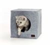 PiuPet® Premium Katzenhöhle inkl. Kissen | Passend für z.B. IKEA® Kallax & Expedit Regal | Kuschelhöhle in grau - 1