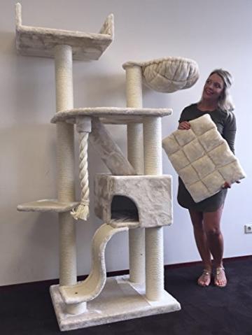 RHRQuality Kratzbaum Große Katze Kilimandjaro de Luxe Creme. Stabil 45KG!. Sisalstämme 12cmØ Katzenkratzbaum für Große Katzen. - 1