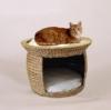 Silvio Design Katzenbett, Katzenkissen, Katzen-Korbturm aus Wasserhyazinthe, Ø 54 cm, Höhe: 37 cm - 1