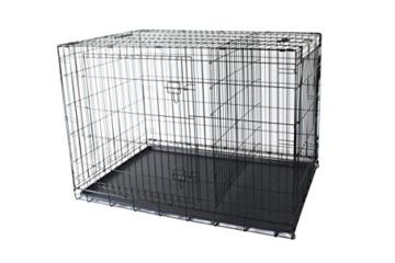 Simply Maison | Hundekäfig | Transportbox | Drahtkäfig mit 1 oder 2 Türen | Tragegriffen | Mit oder ohne Rollen | ( Größe S - M - L - XL mit Rollen verfügbar) | Folding Metall W/Tablett (2 Türen, XXL) - 4