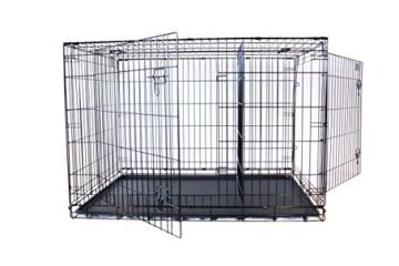 Simply Maison | Hundekäfig | Transportbox | Drahtkäfig mit 1 oder 2 Türen | Tragegriffen | Mit oder ohne Rollen | ( Größe S - M - L - XL mit Rollen verfügbar) | Folding Metall W/Tablett (2 Türen, XXL) - 5