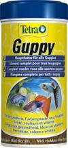 Tetra Guppy (Hauptfutter für Guppys und andere lebendgebärende Zahnkarpfen, Miniflocken mit Farberstärkern), 250 ml Dose - 1