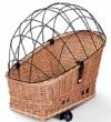 Tigana - Hundefahrradkorb für Gepäckträger aus Weide Natur 56 x 36 cm mit Metallgitter Tierkorb Hinterradkorb Hundekorb für Fahrrad + Kissen (N-S) - 1