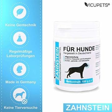 Vicupets® Zahnstein 100g Pulver für Hunde | Natürliche Zahnpflege I Reinigung für Zähne & Zahnfleisch I Ergänzungsfuttermittel - 3