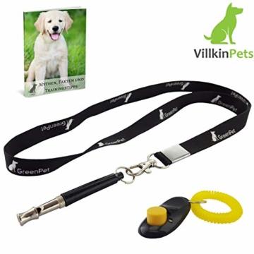 Villkin 2X Hundepfeife +Bonus: Hunde-clicker, Schlüsselband und E-Book - Kontrolle erlangen und Bellen stoppen - Schwarz/Silber mit Einstellbarer Frequenz - 2
