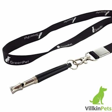 Villkin 2X Hundepfeife +Bonus: Hunde-clicker, Schlüsselband und E-Book - Kontrolle erlangen und Bellen stoppen - Schwarz/Silber mit Einstellbarer Frequenz - 3