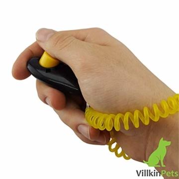 Villkin 2X Hundepfeife +Bonus: Hunde-clicker, Schlüsselband und E-Book - Kontrolle erlangen und Bellen stoppen - Schwarz/Silber mit Einstellbarer Frequenz - 4