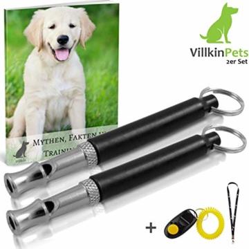 Villkin 2X Hundepfeife +Bonus: Hunde-clicker, Schlüsselband und E-Book - Kontrolle erlangen und Bellen stoppen - Schwarz/Silber mit Einstellbarer Frequenz - 1