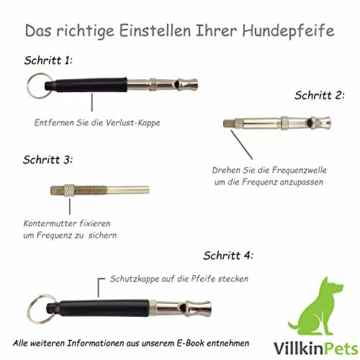 Villkin 2X Hundepfeife +Bonus: Hunde-clicker, Schlüsselband und E-Book - Kontrolle erlangen und Bellen stoppen - Schwarz/Silber mit Einstellbarer Frequenz - 6