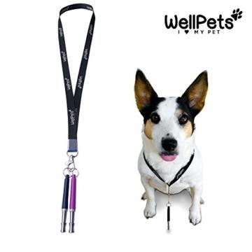 WellPets Profi-Hundepfeife 3 Stück | 7X Bonus inkl. 2 Ersatz-Pfeifen, 2 Umhängebänder, Edler Leckerlibeutel, Hunde-Klicker und Ebook Hundetraining | Ultraschall, Hochfrequenz, Verstellbar und Leise - 3