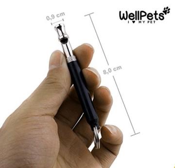 WellPets Profi-Hundepfeife 3 Stück | 7X Bonus inkl. 2 Ersatz-Pfeifen, 2 Umhängebänder, Edler Leckerlibeutel, Hunde-Klicker und Ebook Hundetraining | Ultraschall, Hochfrequenz, Verstellbar und Leise - 6