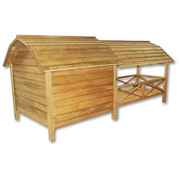 Wiltec XXL Hundehütte Hundehaus Holz Balkon Garten Terrasse Lamellentüre Hund - 3