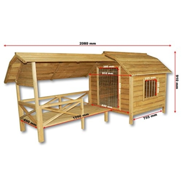 Wiltec XXL Hundehütte Hundehaus Holz Balkon Garten Terrasse Lamellentüre Hund - 4